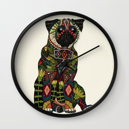 pug love ivory Wall Clock