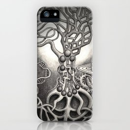BioTechnological DNA Tree and Abstract Cityscape iPhone Case