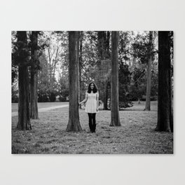 It's best to visit woods in white Canvas Print