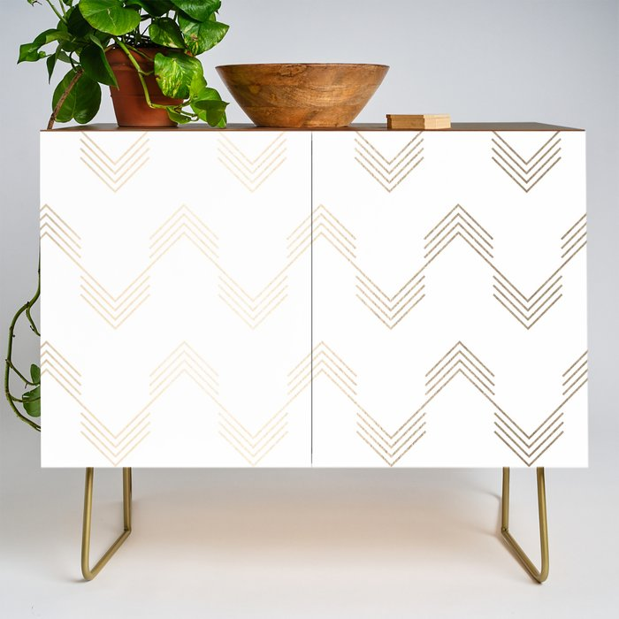 Simply_Deconstructed_Chevron_White_Gold_Sands_on_White_Credenza_by_Simple_Luxe__Gold__Walnut
