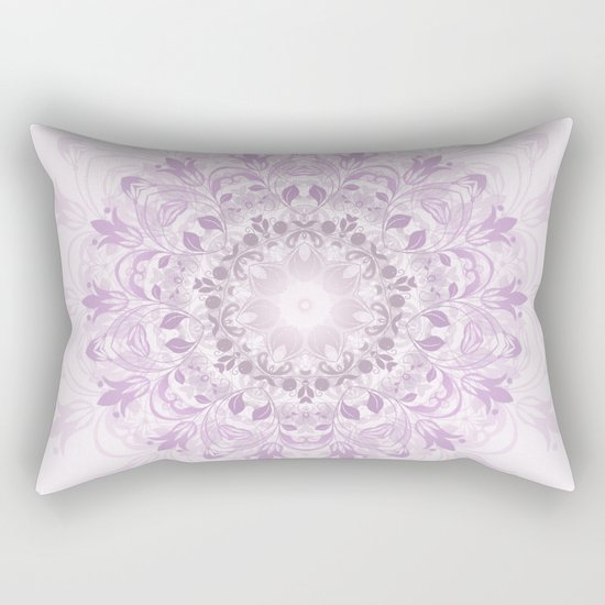 Purple Floral Mandala Rectangular Pillow