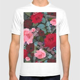 Triangles With Vintage Red Pink Roses and Chocolate Cosmos Flower Pattern T-shirt