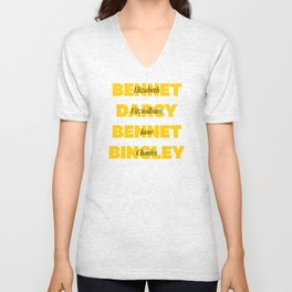 Characters from Pride and Prejudice in Yellow Unisex V-Neck