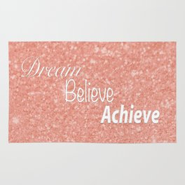 Dream Believe Achieve Rose Gold Rug