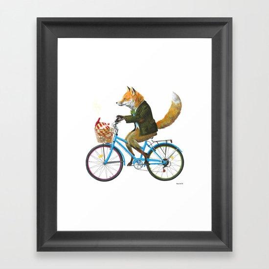 Fox goes to Tea (white) Framed Art Print
