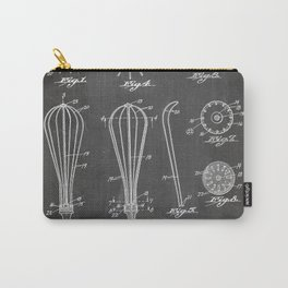 Whisk Patent - Baking Art - Black Chalkboard Carry-All Pouch