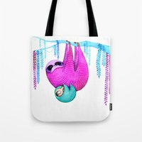 sloths Tote Bags featuring Sloths by Annya Kai