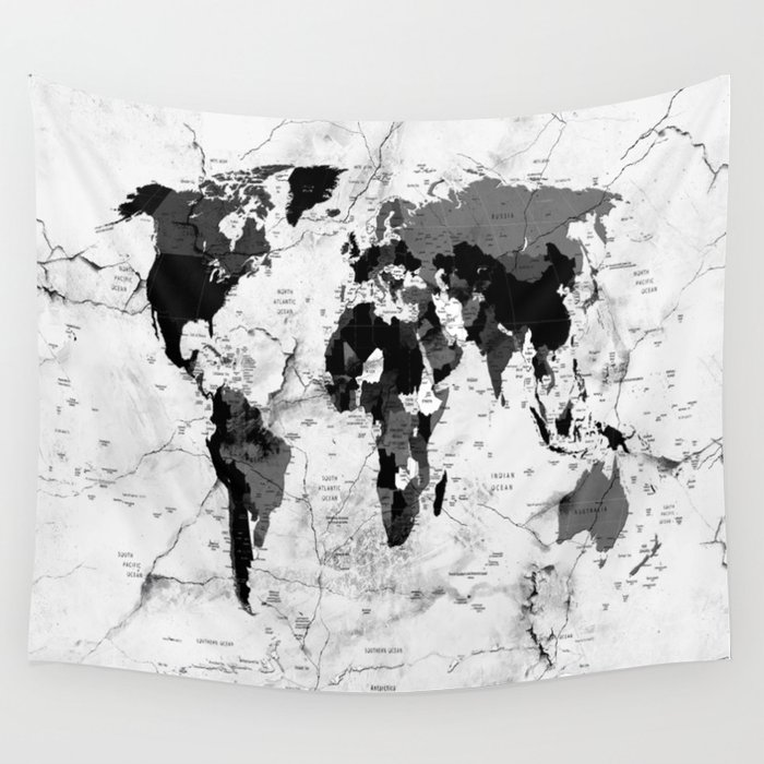 world map political marble wall tapestry
