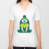walrus V-neck T-shirts featuring Walrus by Lucy Irving