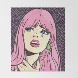 Pink Bangs Sad Girl Throw Blanket