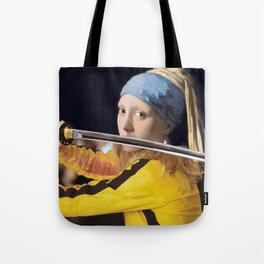 """Vermeer's """"Girl with a Pearl Earring"""" & Kill Bill Tote Bag"""