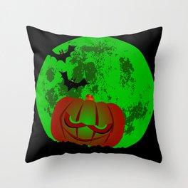 Full Halloween Moon Throw Pillow
