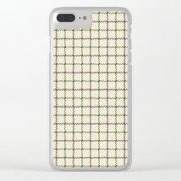 Fern Green & Sludge Grey Tattersall on Cream Background Clear iPhone Case