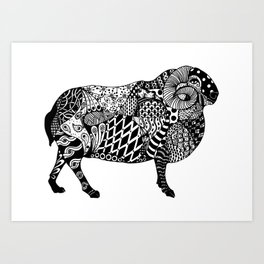 Beatrice the Horned Sheep Art Print