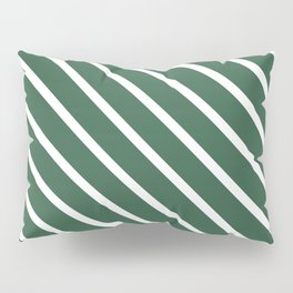 Dark Green Diagonal Stripes Pillow Sham