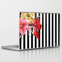 flora Laptop & iPad Skins featuring FLORA BOTANICA | stripes by Cheryl Daniels