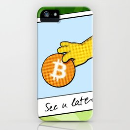 See you later funny Bitcoin Donut on green iPhone Case