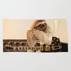Rockstar Sloth Beach Towel