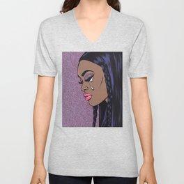Crying Black Sad Comic Girl Unisex V-Neck
