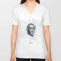 frank underwood V-neck T-shirts featuring House of Cards - Frank Underwood by teokon