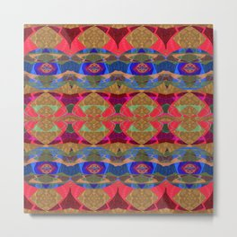 Glowing Geometric Tapestry Pattern Metal Print