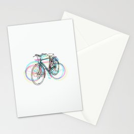 Artistic modern pink teal abstract bicycles art Stationery Cards