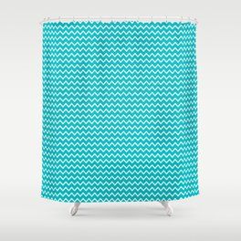 Teal Turquoise Blue Chevron Zigzag Pattern Shower Curtain