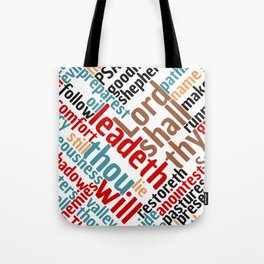 Christian Psalm 23 Colorful Word Art Tote Bag