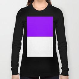 White and Violet Horizontal Halves Long Sleeve T-shirt