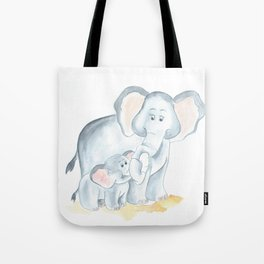 elephants watercolor painting, baby elephant with mom Tote Bag