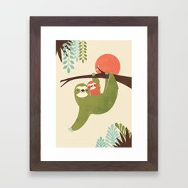 Mama Sloth Framed Art Print