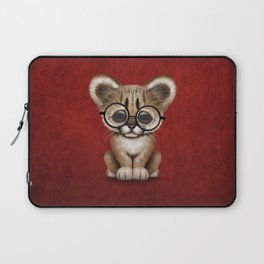 Cute Cougar Cub Wearing Reading Glasses on Red Laptop Sleeve