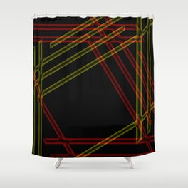 colored stripes on black background Shower Curtain