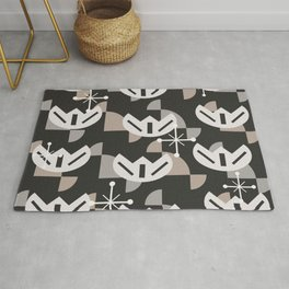 Atomic Era Funky Flowers (Black) Rug