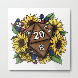 Sunflower D20 Tabletop RPG Gaming Dice Metal Print