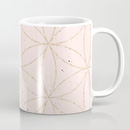 peach speckled with rose gold geometry pattern Coffee Mug
