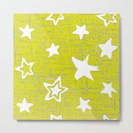 Star Pattern Designs, Yellow Designs, Home Decor Patterns Metal Print