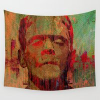 frankenstein Wall Tapestries featuring frankenstein by Joe Ganech
