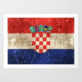 Vintage Aged and Scratched Croatian Flag Art Print