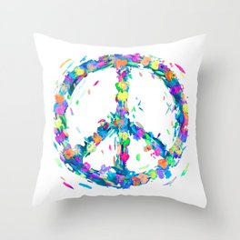 Colorful Hearts Whirled Peace & Love Throw Pillow