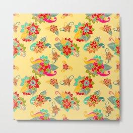 Bright Yellow loral Pattern Metal Print