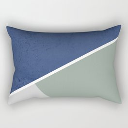 Navy Sage Gray Geometric Rectangular Pillow