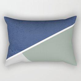 Navy Sage Gray Geometric Rectangular Pillow