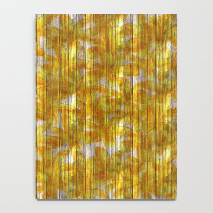 Paintely Wooden Orange and Yellow Flowers Notebook