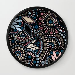 Abstract pattern with beads on black Wall Clock