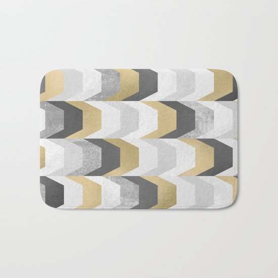 Stacks of Gold and Grey Bath Mat