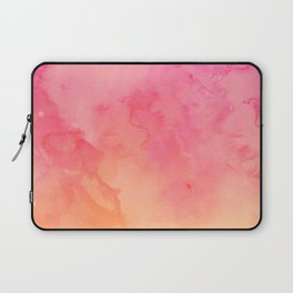 Modern summer hand painted pink orange sunset watercolor wash Laptop Sleeve