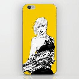 Badass girl with gun in comic pop art style iPhone Skin
