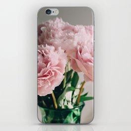 Pink Peonies on White iPhone Skin