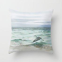 Anna Maria Island Florida Seascape with Heron Throw Pillow